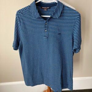 Michael Kors blue striped polo shirt